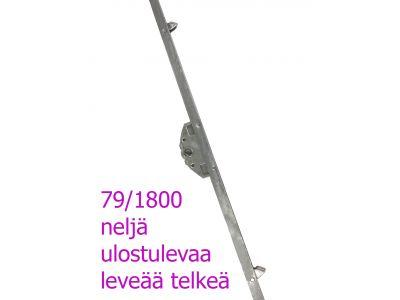 Parvekeoven pitkäsulkija teljillä 1800mm