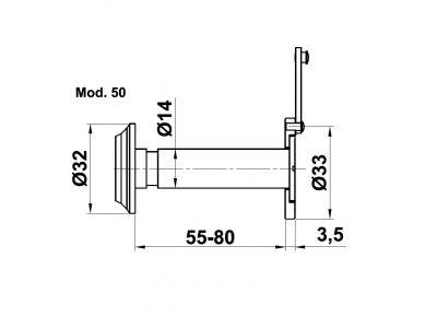 Palonkestävä ovisilmä 55-80mm ovelle, messingöity